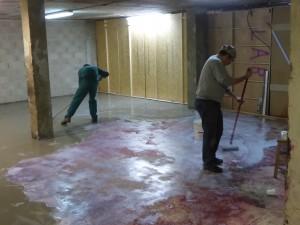 Régréage zone workshop : lissage et dépose de sous-couche
