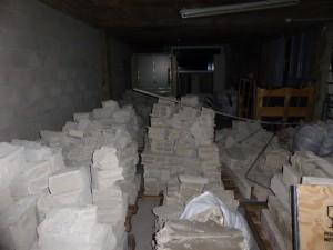Stockage des gravats, avant mise en déchetterie