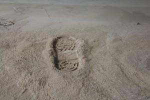 Poussière déposée après le ponçage du sol